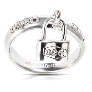Vtg .925 Silver Tiffany & Co 1837 Lock Charm Ring